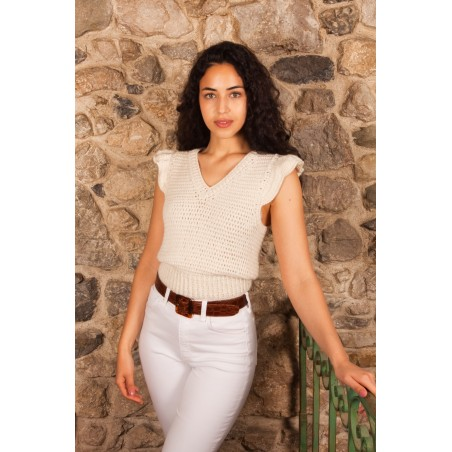 tricot, fait main, baby alpaga, white, mode sustainable, mode engage